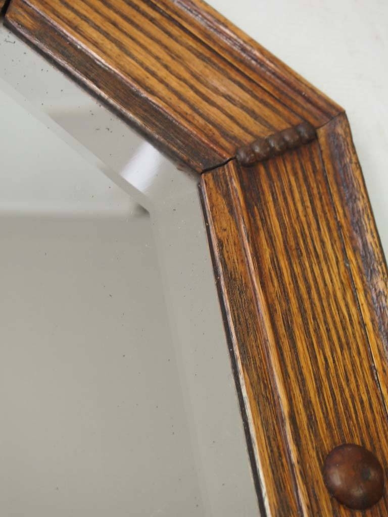 Vintage Oak Framed Mirror / Overmantle - - inside Wooden Overmantle Mirrors (Image 14 of 15)