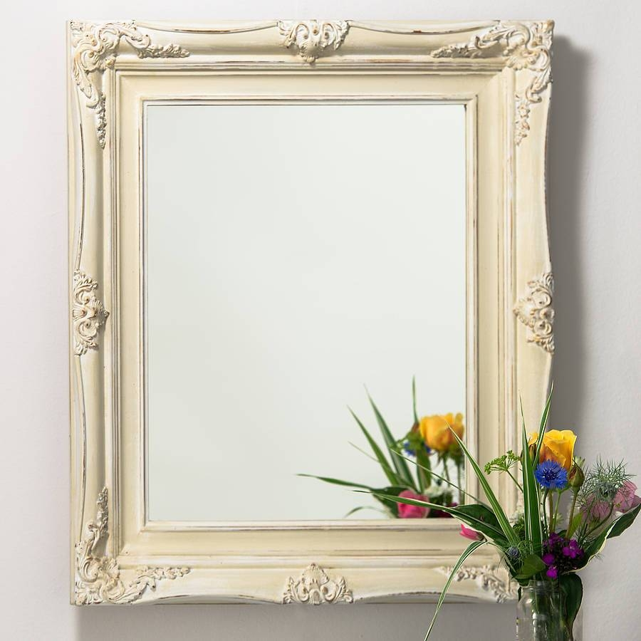 Vintage Ornate Hand Painted Mirrorhand Crafted Mirrors regarding Cream Mirrors (Image 15 of 15)