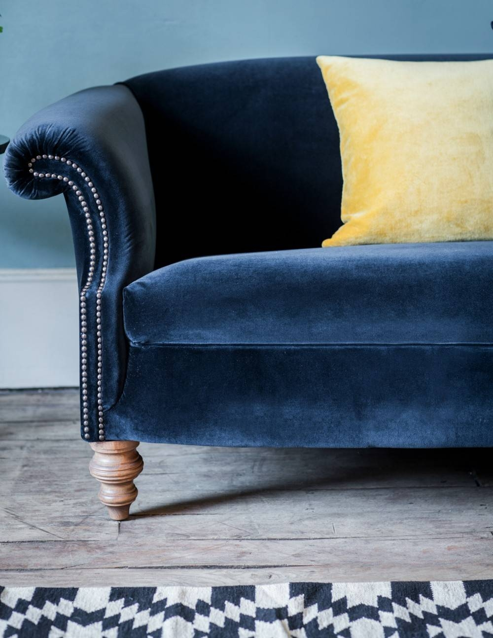 Vintage Regency Velvet Sofa - 2 Or 3 Seater | Rose & Grey for Midnight Blue Sofas (Image 14 of 15)