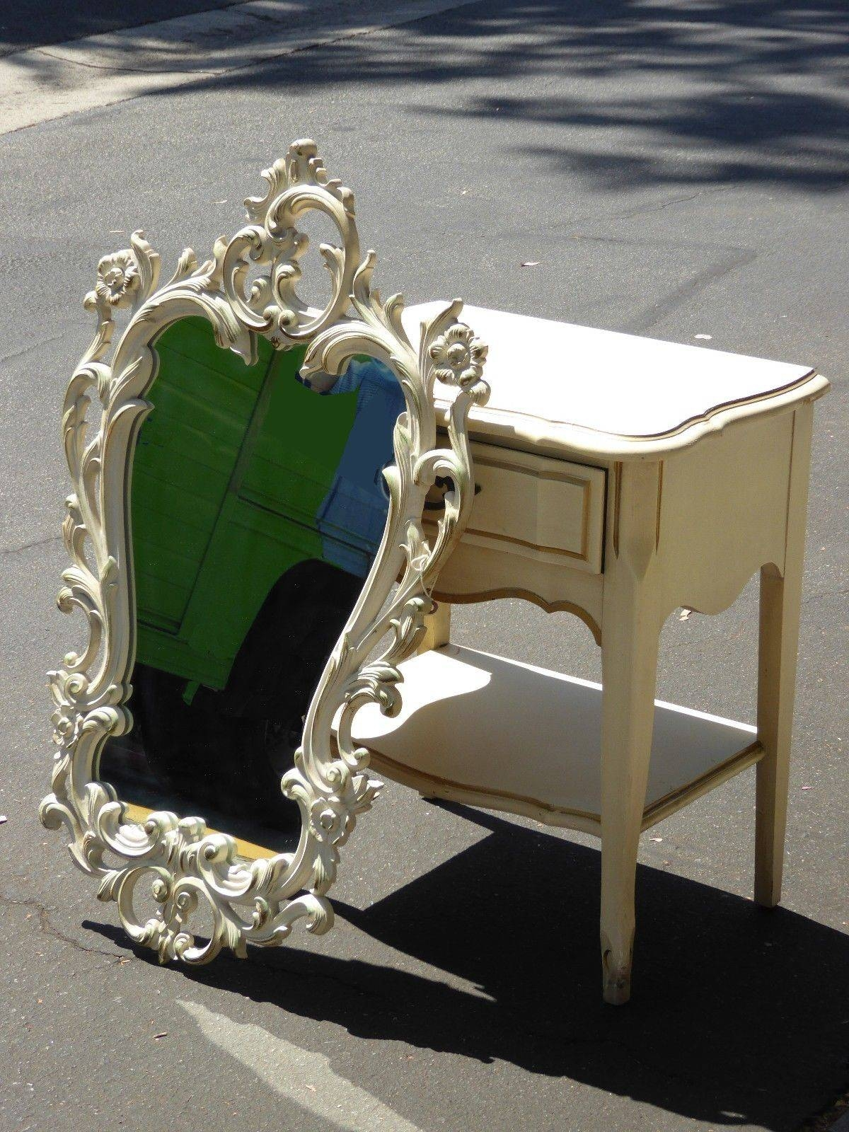 Vintage Rococo Style Ornate White Floral Design Wall Mirror intended for Rococo Style Mirrors (Image 13 of 15)