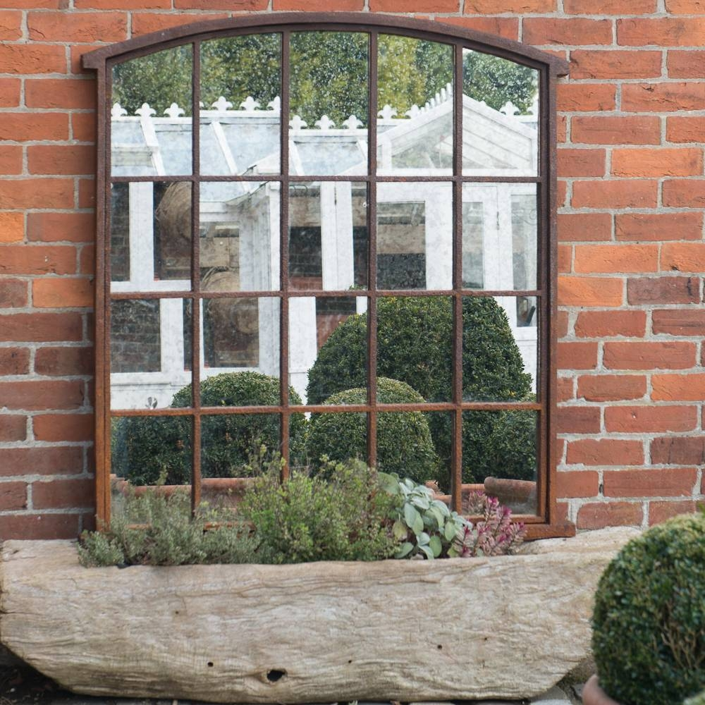Vintage Rusted Garden Window Frame Mirror Vinatge-Garden-Window in Metal Garden Mirrors (Image 15 of 15)