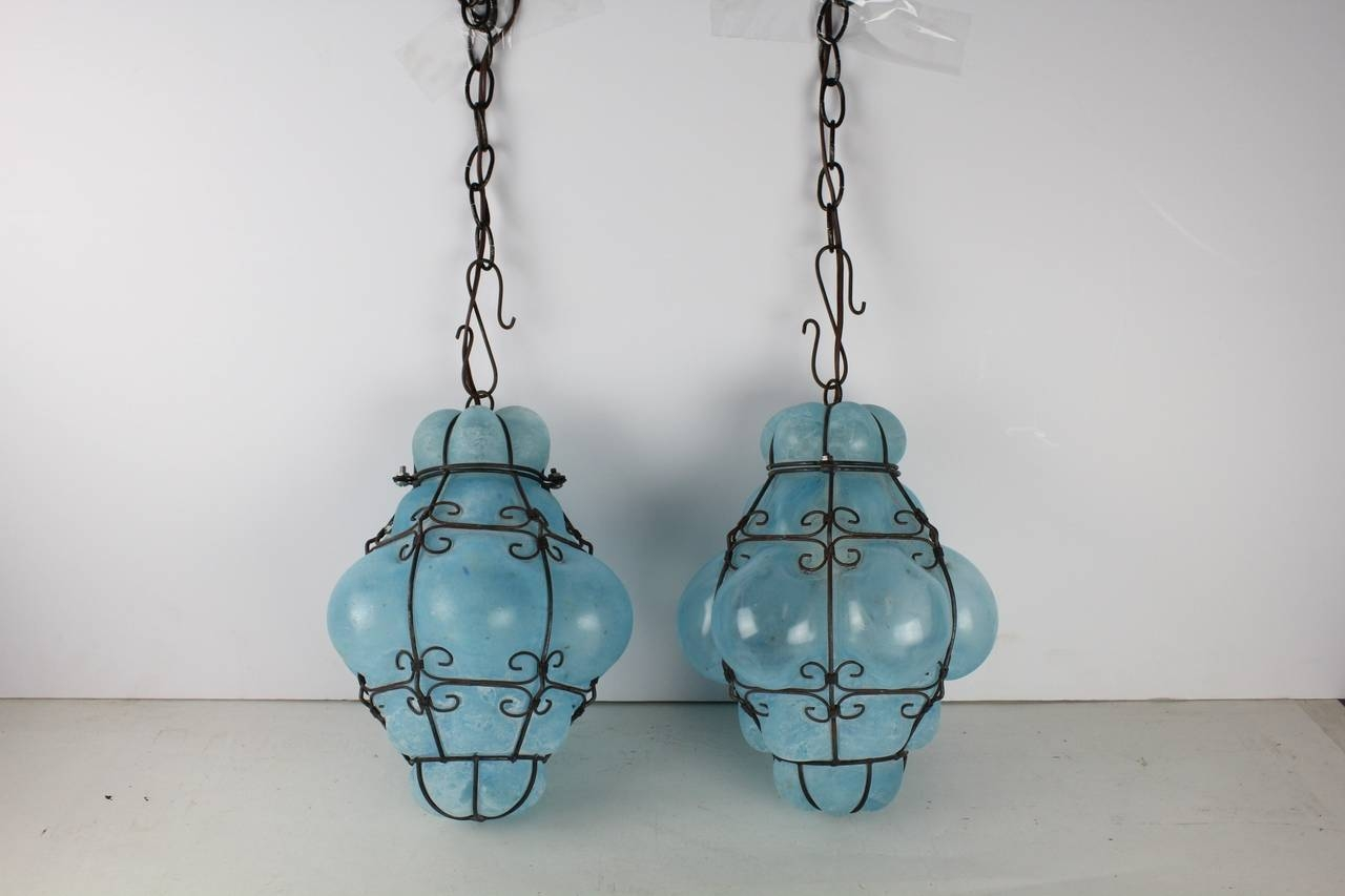 15 photos murano pendant lights vintage seguso murano blue glass cage pendant lights at 1stdibs throughout murano pendant lights image aloadofball Images