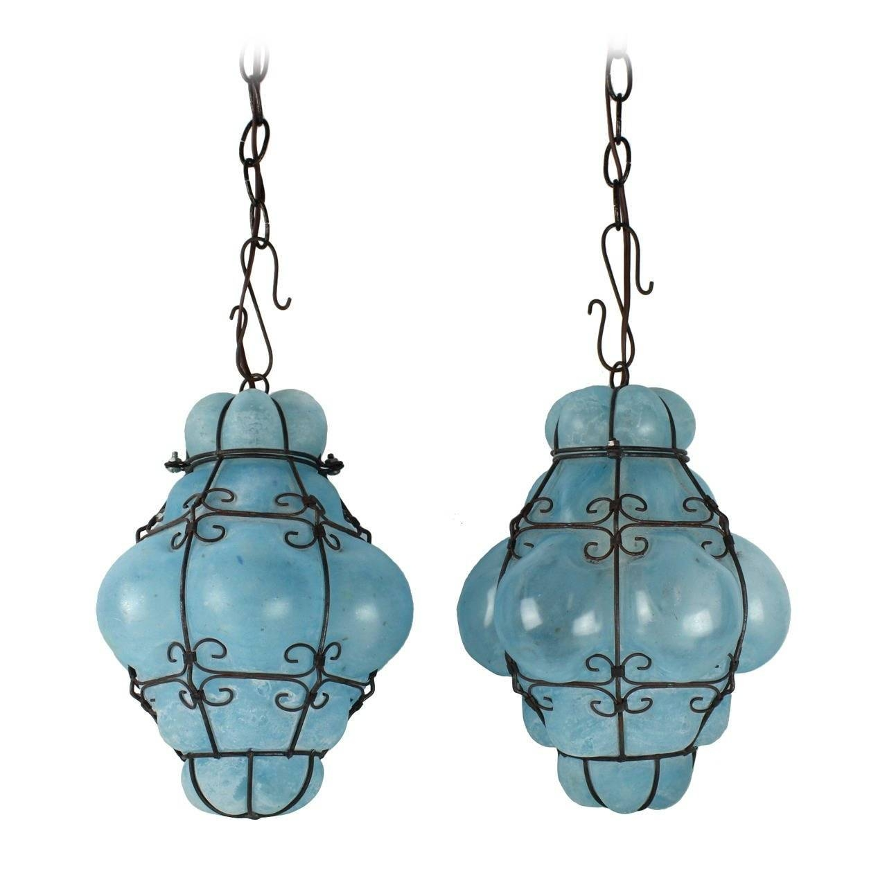 Vintage Seguso Murano Blue Glass Cage Pendant Lights At 1Stdibs with regard to Turquoise Blue Glass Pendant Lights (Image 15 of 15)