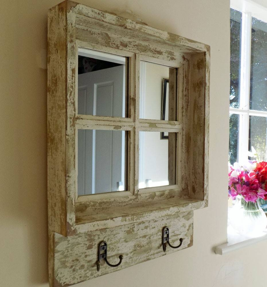 Vintage Shabby Chic Square Wooden Window Mirror in Shabby Chic Mirrors With Shelf (Image 14 of 15)