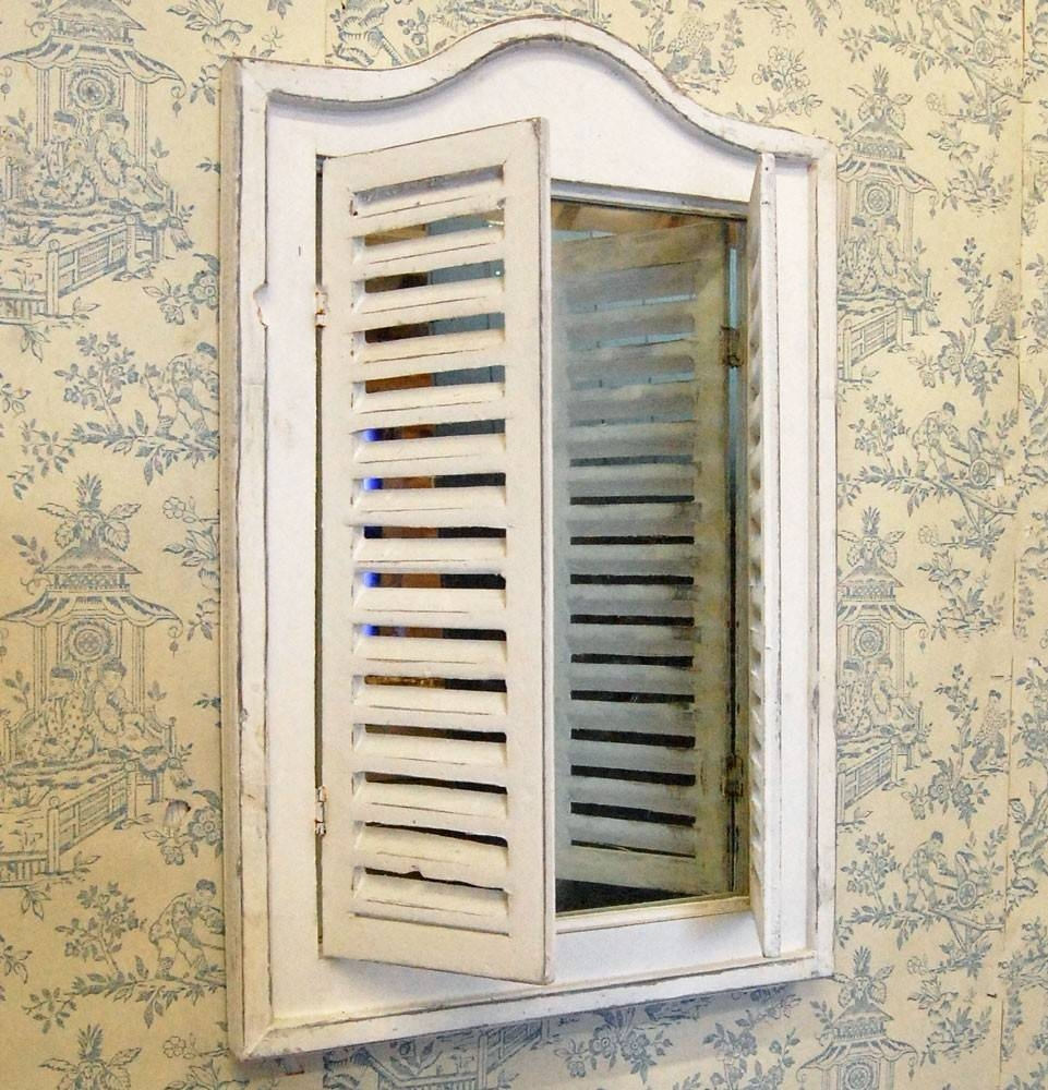 Vintage Traditional Shabby Chic Shutter Mirror throughout Window Shutter Mirrors (Image 11 of 15)