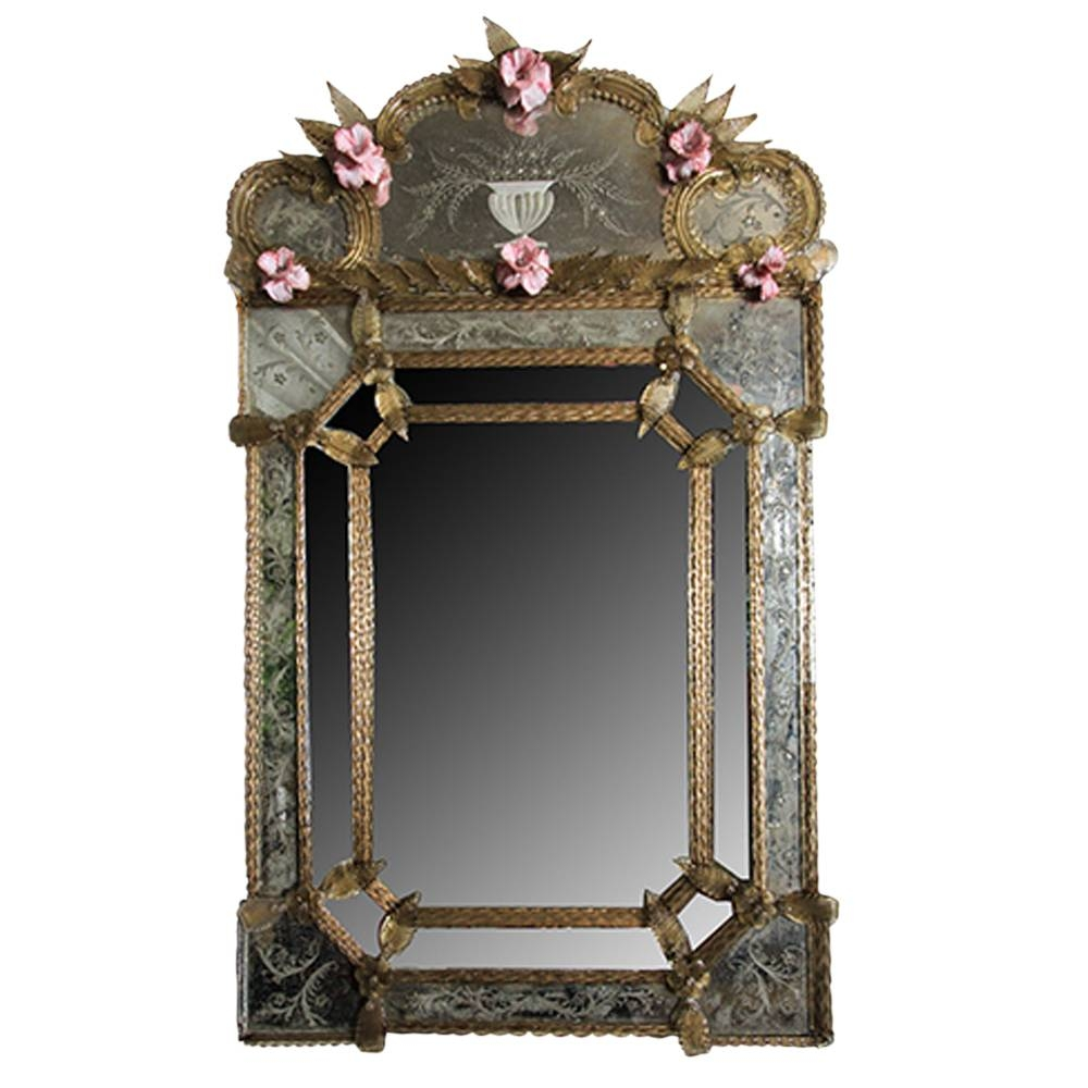 Vintage Venetian Etched Glass Mirror | Omero Home inside Venetian Etched Glass Mirrors (Image 15 of 15)