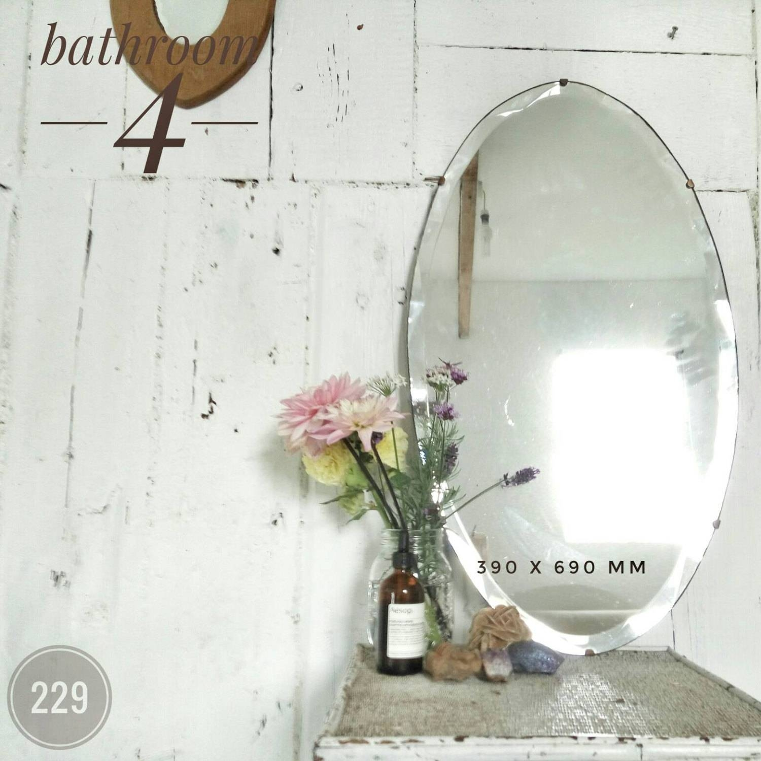 Vintage Wall Mirror Bevelled Edged Frameless Large Mirror Oval pertaining to Vintage Frameless Mirrors (Image 14 of 15)