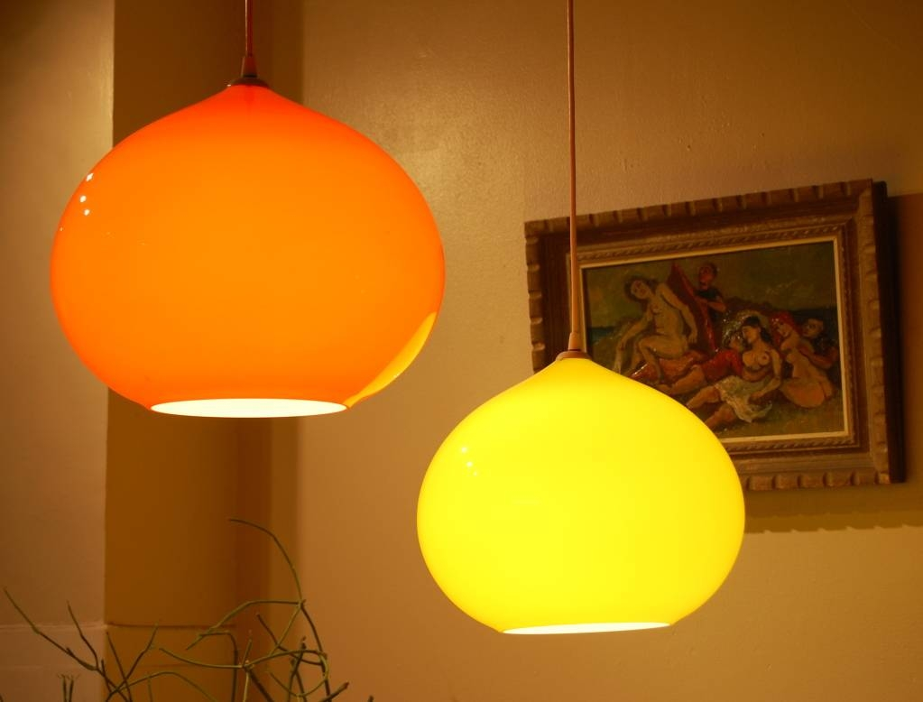 Vistosi Alessandro Pianon Pendant Lamp In Orange Glass 1960 For with Orange Glass Pendant Lights (Image 15 of 15)