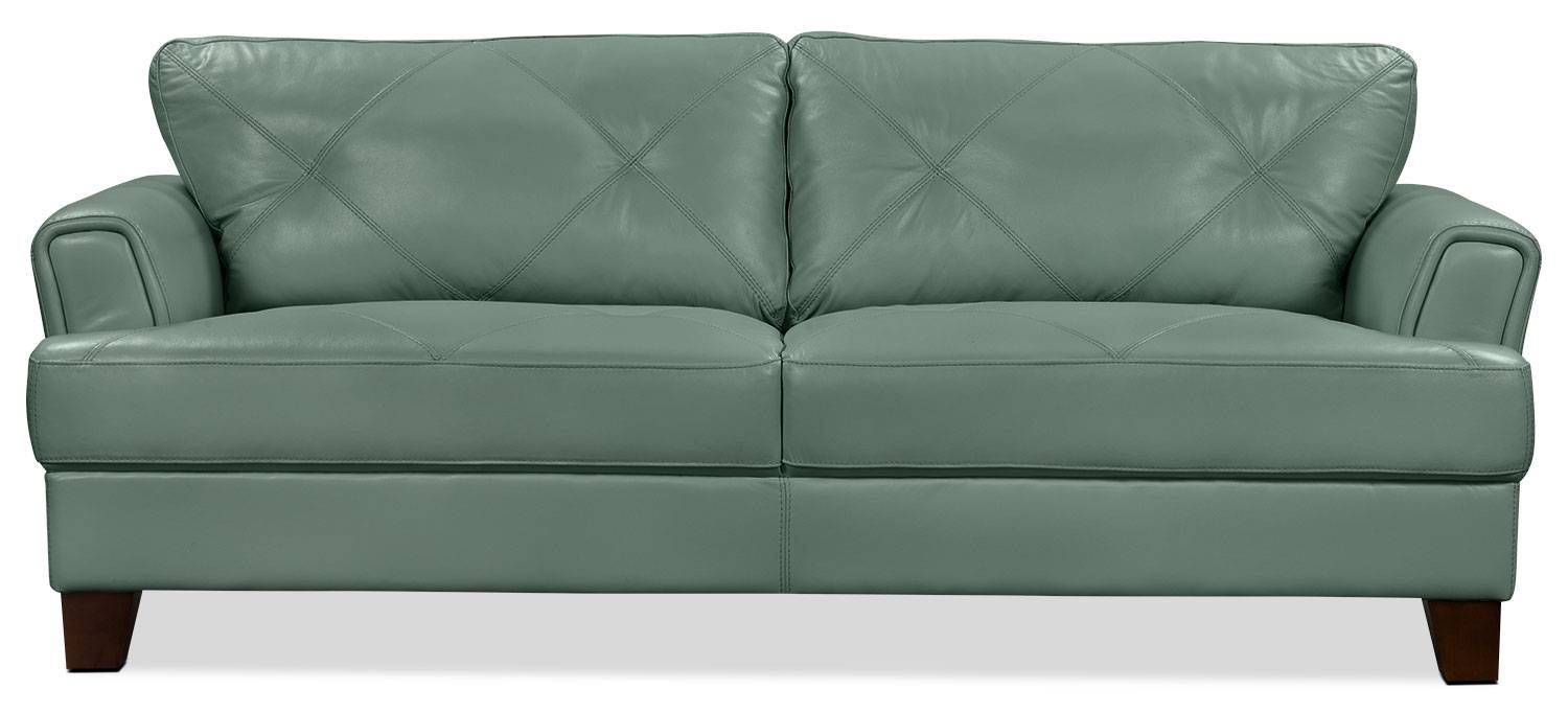 Vita 100% Genuine Leather Sofa – Sea Foam | The Brick Inside Cindy Crawford Leather Sofas (View 13 of 15)