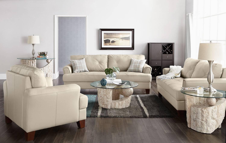 Vita 100% Genuine Leather Sofa – Smoke | The Brick inside Cindy Crawford Home Sofas (Image 15 of 15)