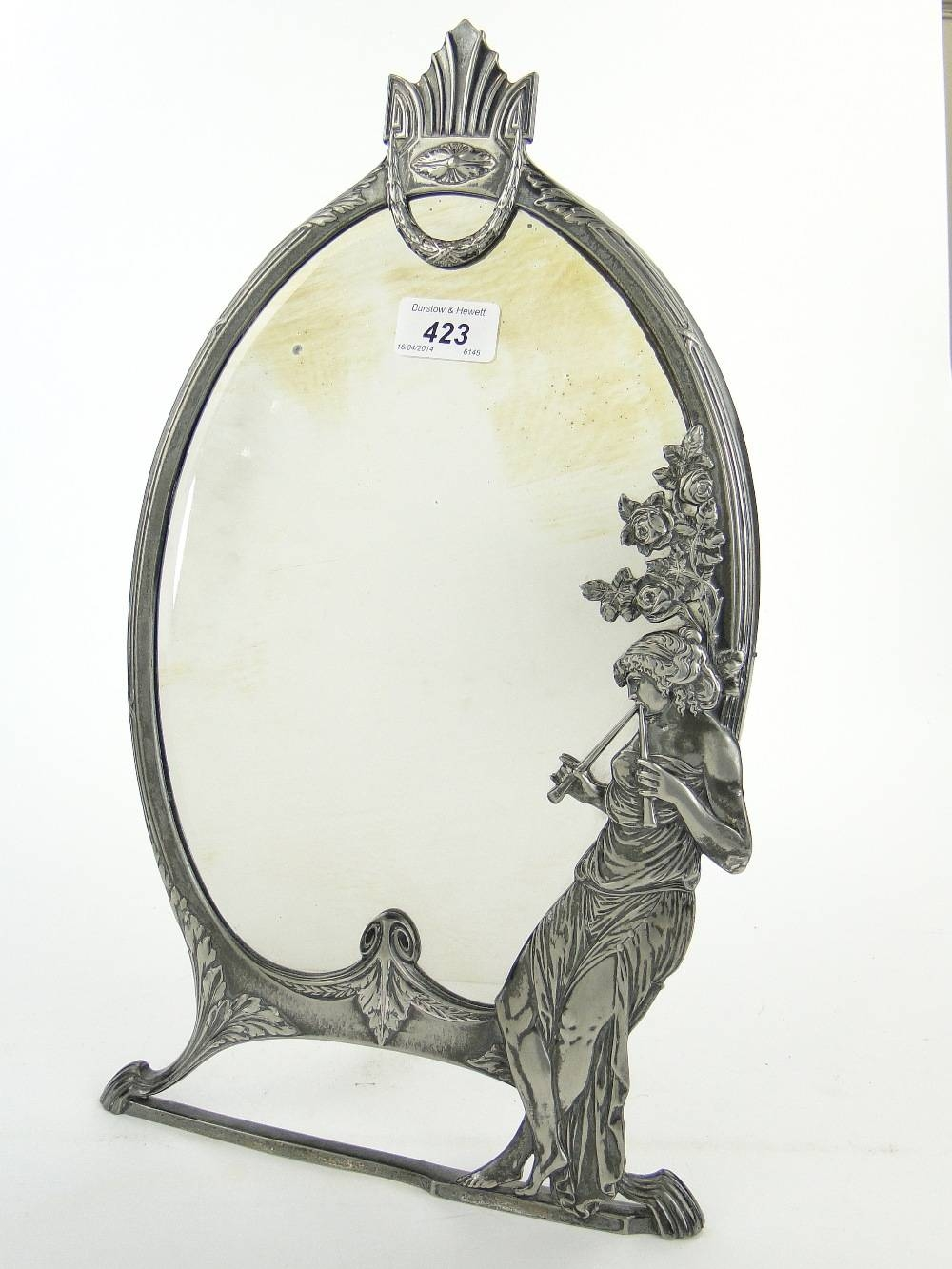 W M F Art Nouveau Silver Plated Dressing Table Mirror Decorated pertaining to Art Nouveau Dressing Table Mirrors (Image 15 of 15)