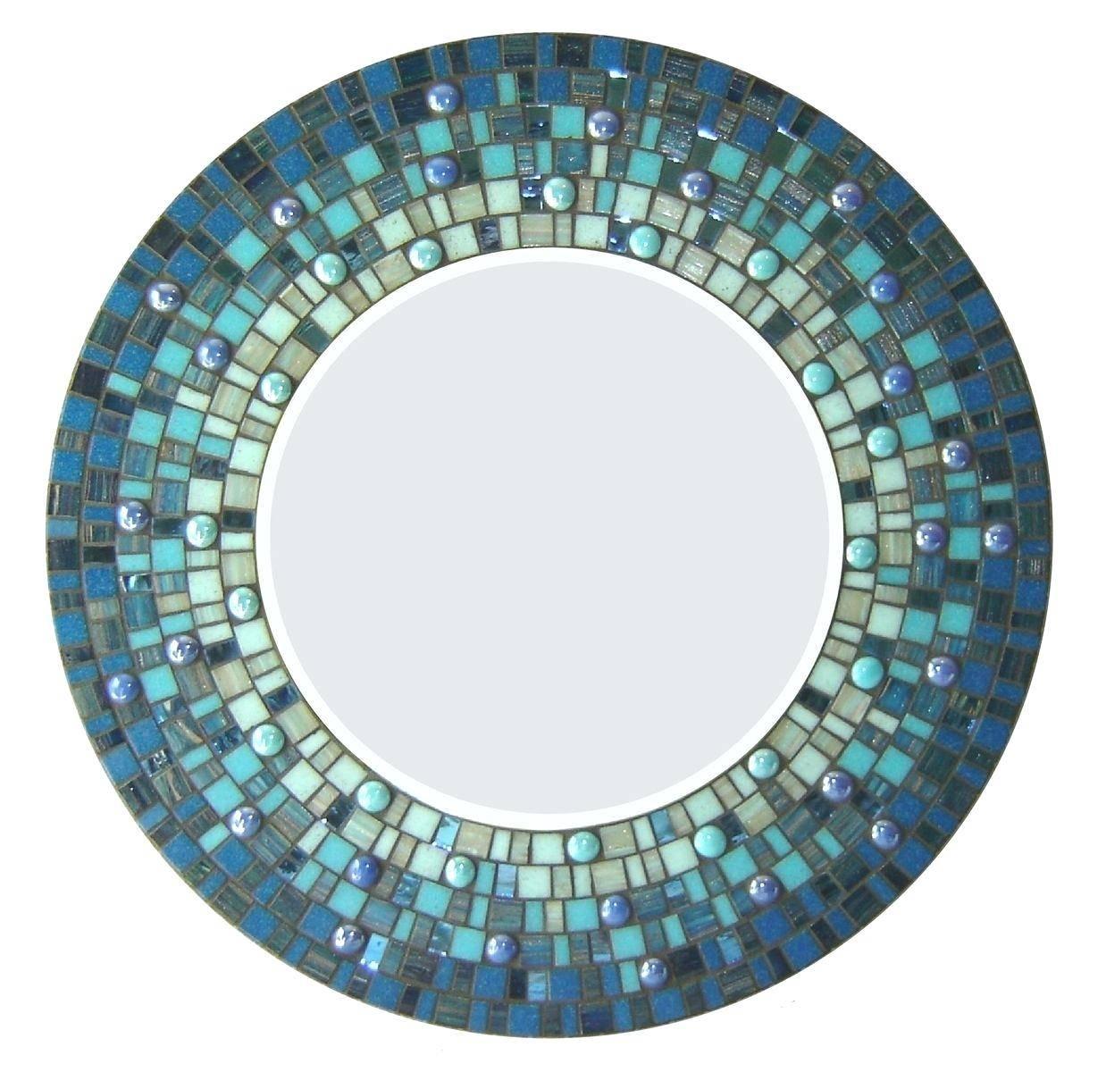 Wall Ideas : Custom Made Round Mosaic Wall Mirror Blue Distressed regarding Blue Distressed Mirrors (Image 14 of 15)