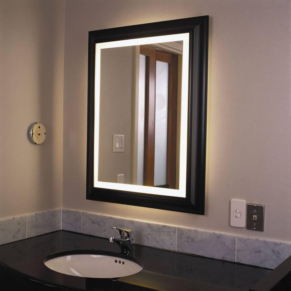 Wall Lighted Bathroom Mirror : Essential Lighted Bathroom Mirror inside Wall Light Mirrors (Image 12 of 15)