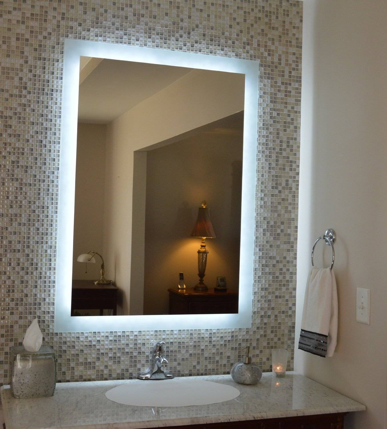 Wall Lighted Bathroom Mirror : Essential Lighted Bathroom Mirror throughout Wall Light Mirrors (Image 13 of 15)