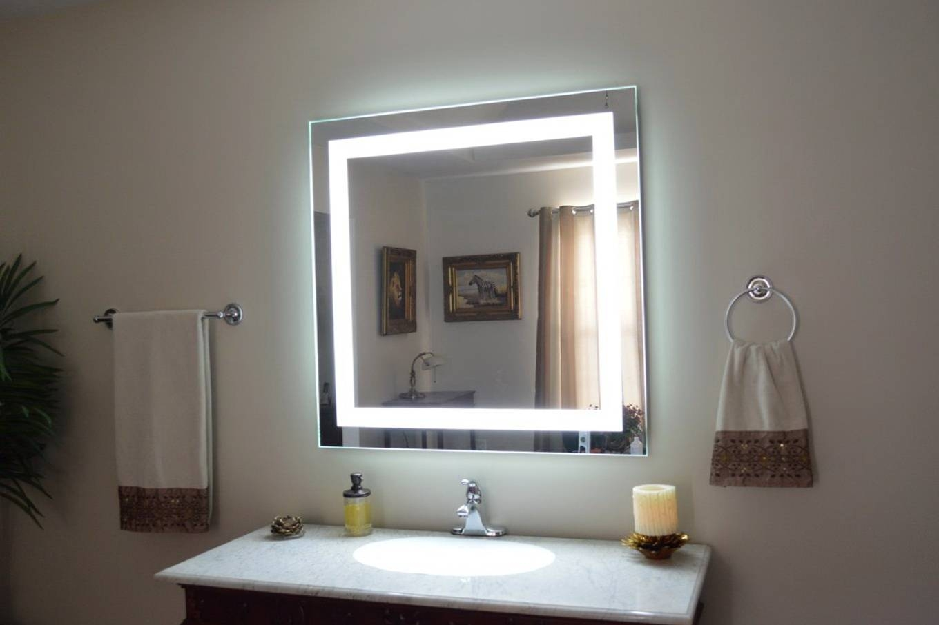 Wall Lights: Outstanding Bathroom Mirror With Lights 2017 Ideas intended for Wall Light Mirrors (Image 14 of 15)