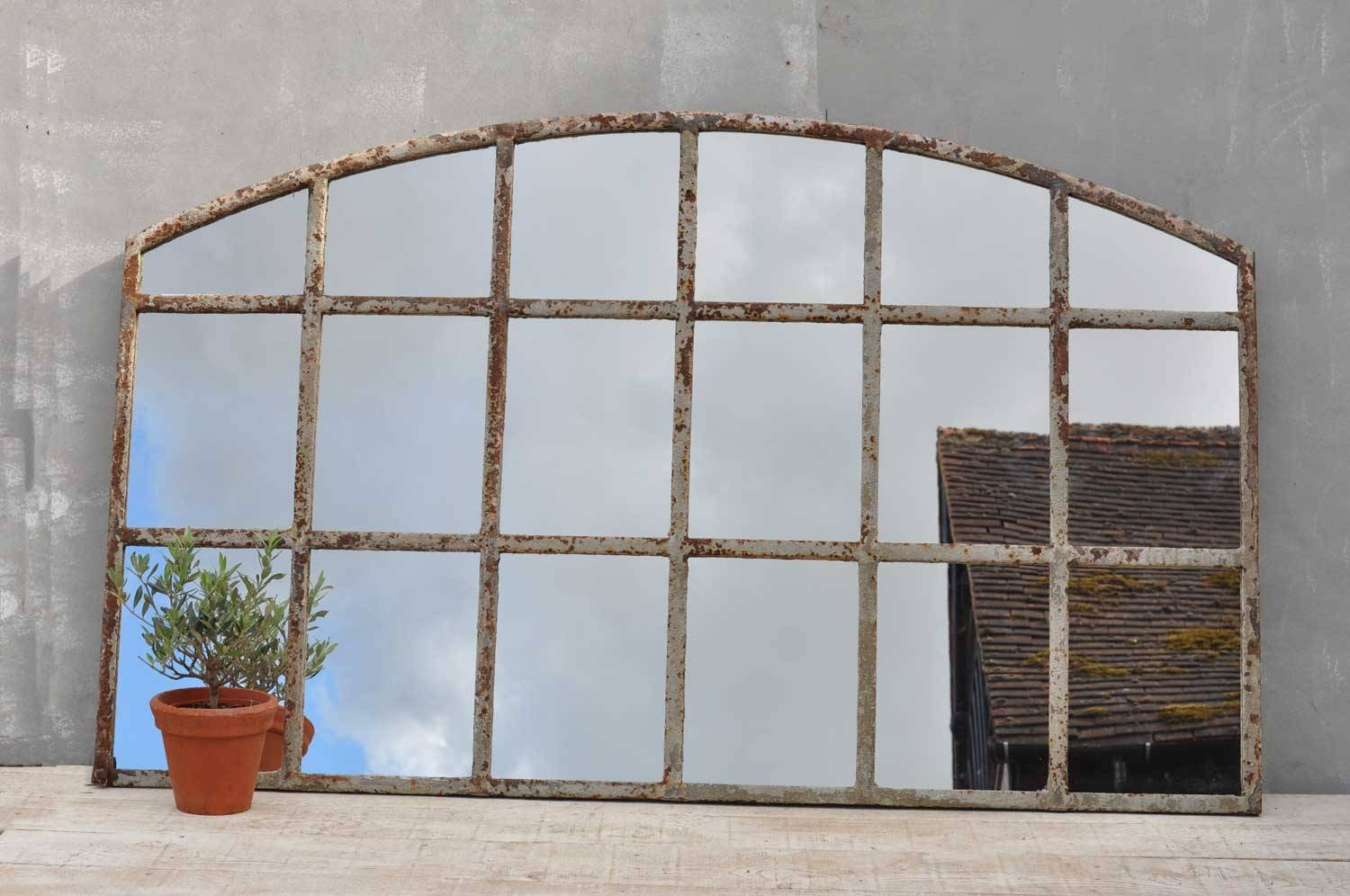 Warehouse Large Cast Iron Arched Window Mirror intended for Large Arched Window Mirrors (Image 14 of 15)