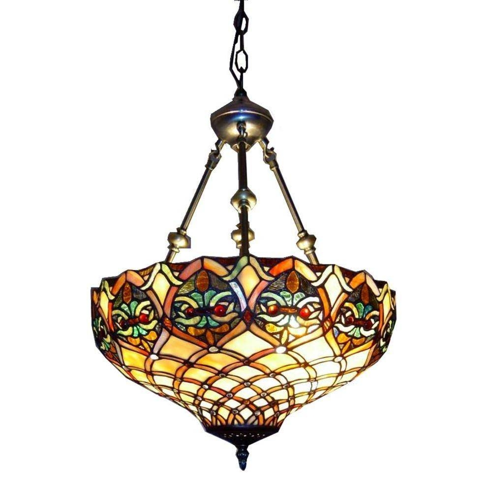 Warehouse Of Tiffany 2-Light Brass Inverted Hanging Pendant With intended for Stained Glass Pendant Lights (Image 14 of 15)