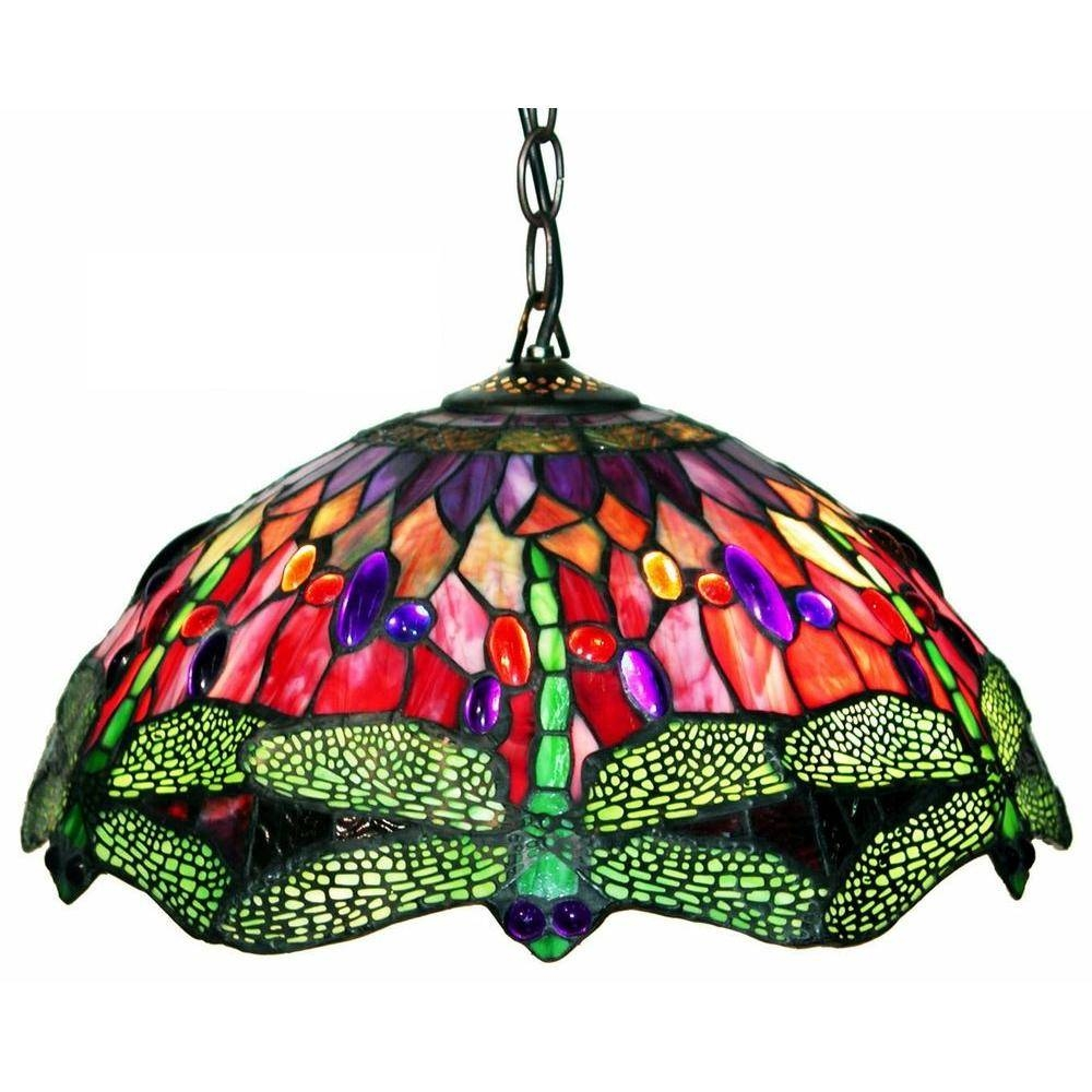 Warehouse Of Tiffany Dragonfly 2 Light Brown Stained Glass Hanging With Stained Glass Pendant Lights (View 15 of 15)
