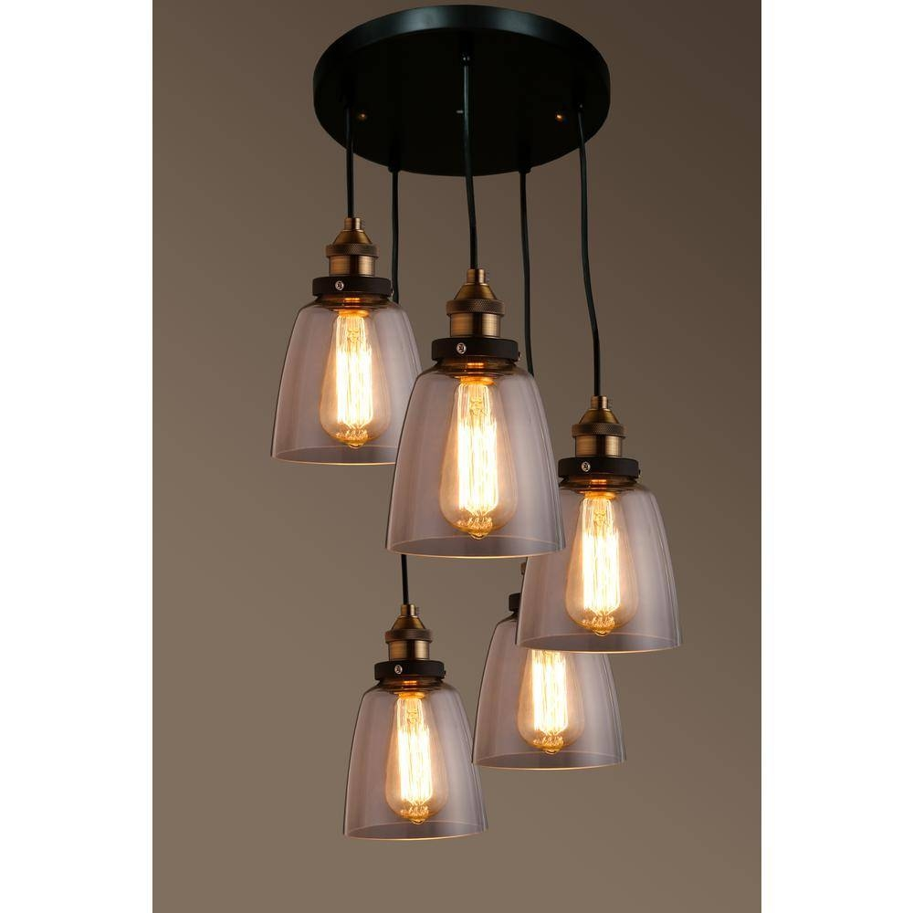 Warehouse Of Tiffany Edison Euna Collection 5-Light Black Clear intended for Warehouse Pendant Light Fixtures (Image 13 of 15)