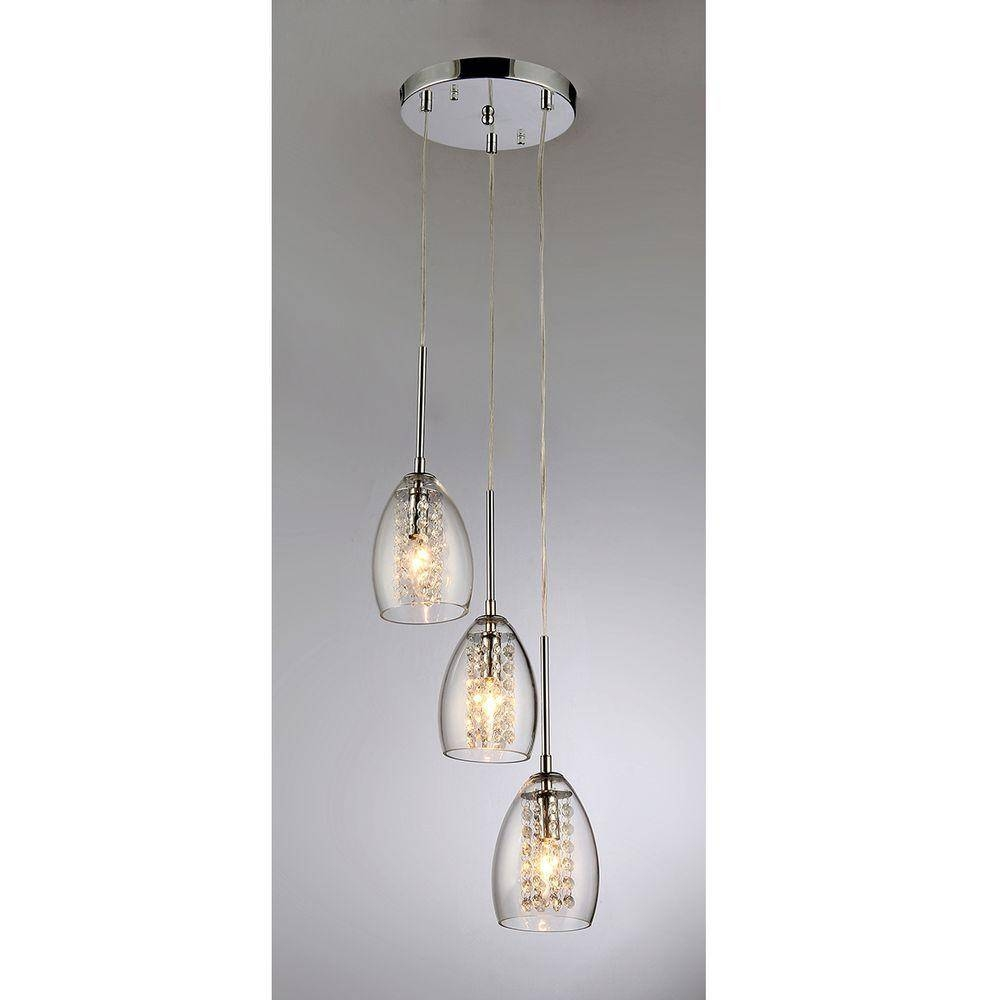 Warehouse Of Tiffany Wine Cup 3 Light Chrome Pendant 59774 – The Throughout 3 Pendant Light Kits (View 15 of 15)