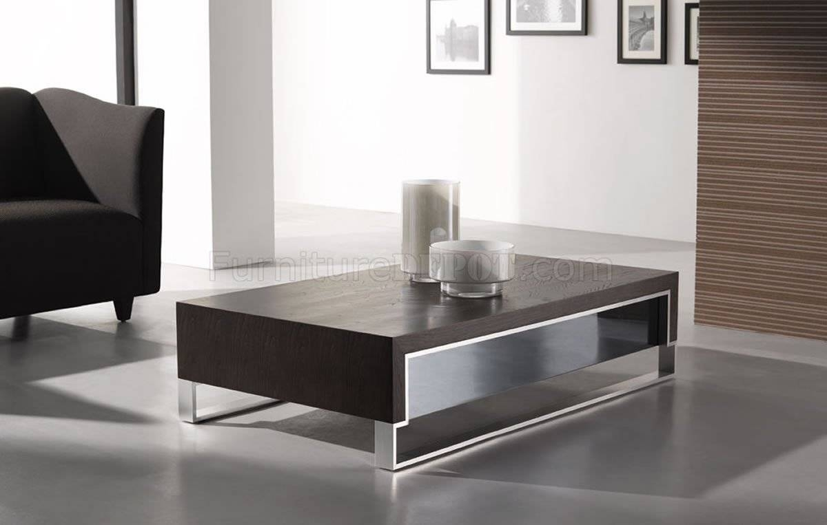 Wenge Finish Contemporary Coffee Table W/side Glass Pertaining To Contemporary Coffee Tables (View 15 of 15)