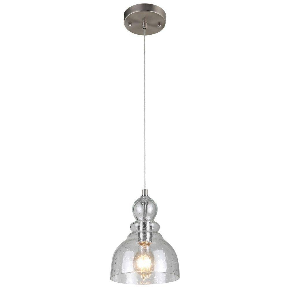 Westinghouse 1-Light Brushed Nickel Adjustable Mini Pendant With for Hand Blown Glass Mini Pendant Lights (Image 14 of 15)