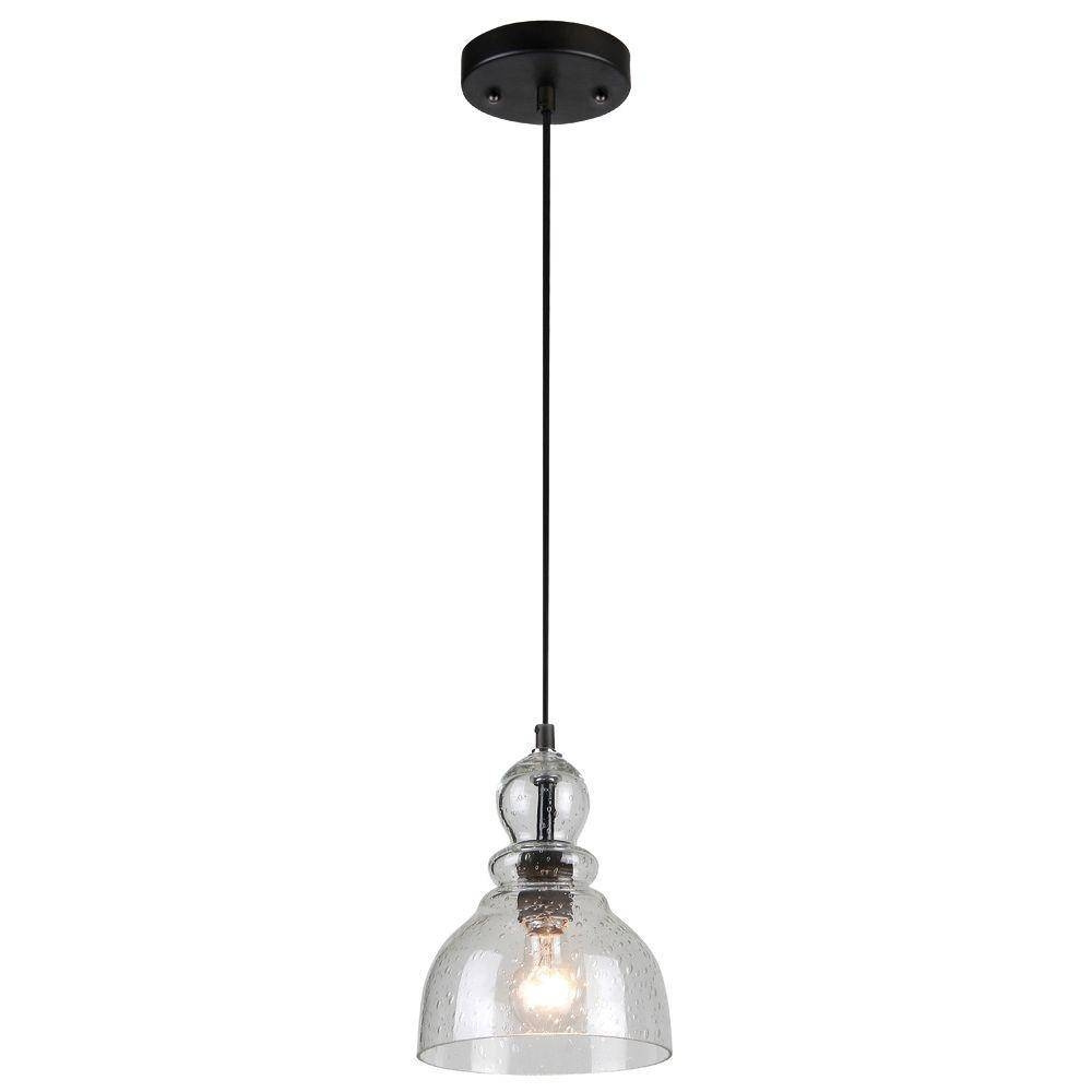 Westinghouse 1 Light Oil Rubbed Bronze Adjustable Mini Pendant Inside Seeded Glass Mini Pendant Lights (View 15 of 15)