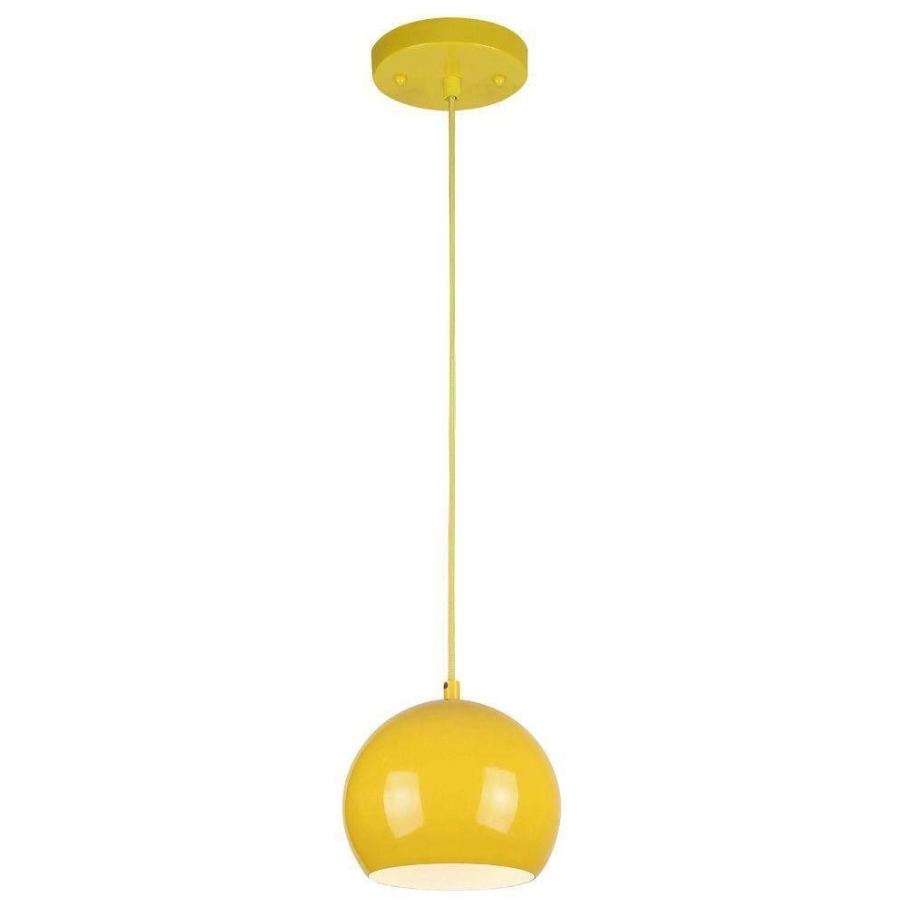 Westinghouse 1-Light Yellow Adjustable Mini Pendant With Metal for Westinghouse Pendant Lights (Image 12 of 15)