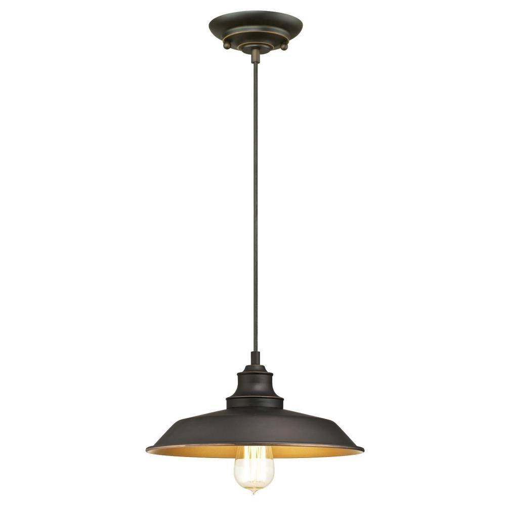 Westinghouse Iron Hill 1-Light Oil Rubbed Bronze Pendant-6344700 throughout Westinghouse Pendant Lights (Image 15 of 15)