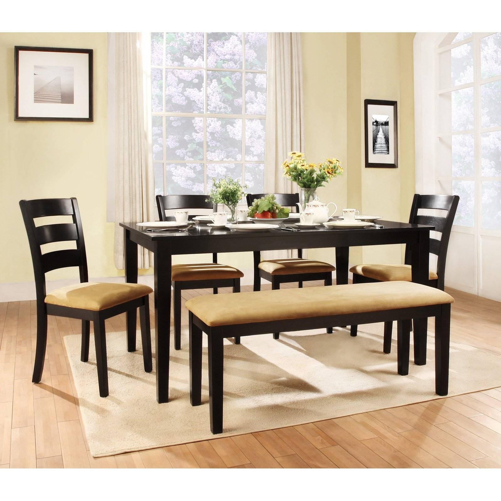Weston Home Tibalt 6 Piece Rectangle Black Dining Table Set - 60 intended for Dining Sofa Chairs (Image 14 of 15)