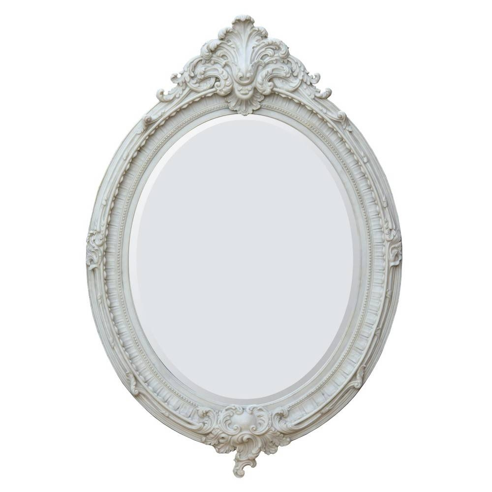 White And Cream Mirrors with Antique White Oval Mirrors (Image 15 of 15)
