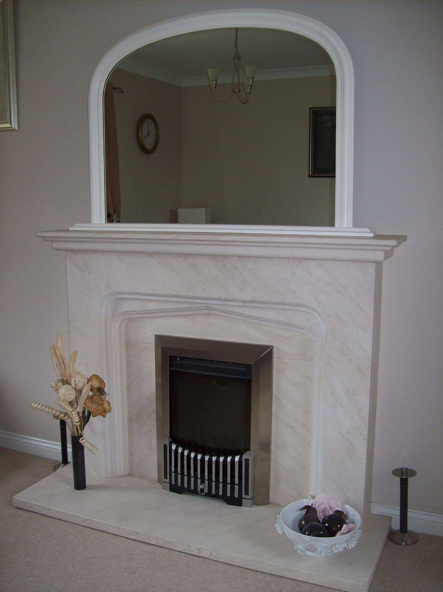 White Arched Overmantle Mirror Pertaining To White Overmantle Mirrors (View 4 of 15)