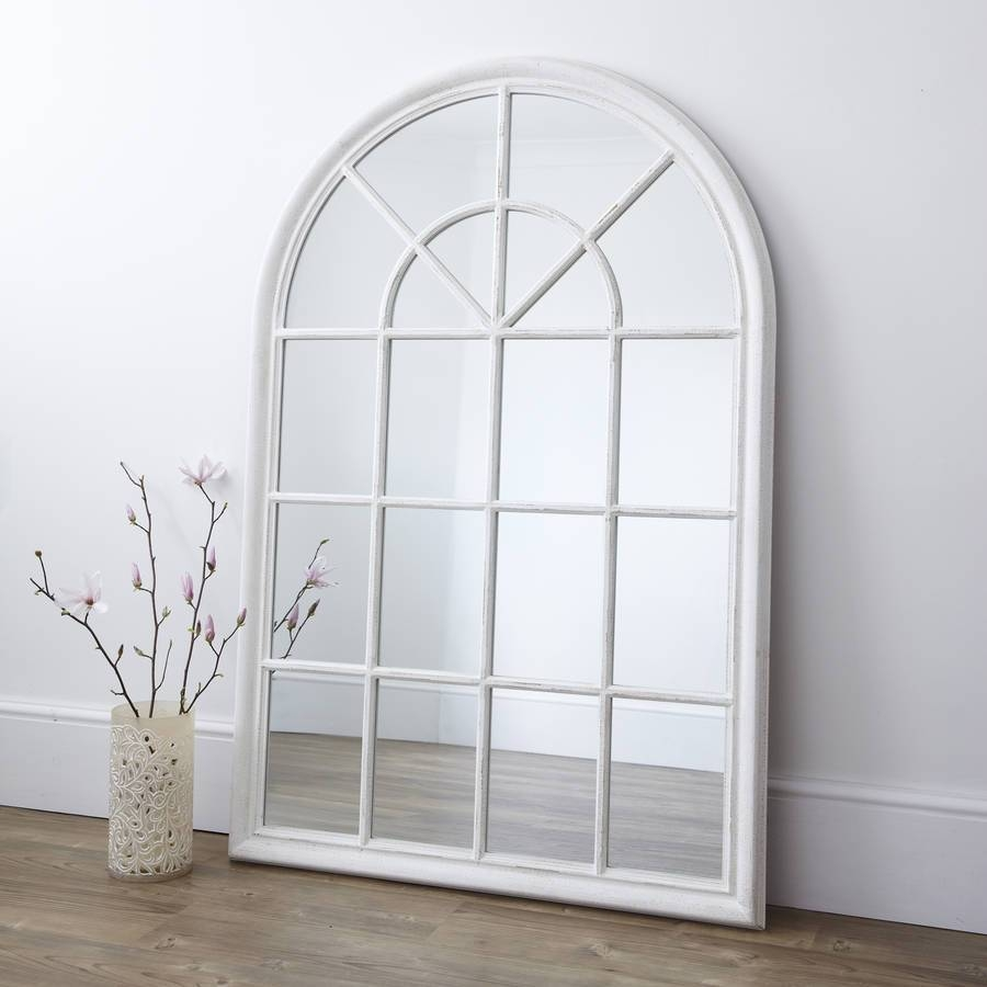 White Arched Window Mirrorprimrose & Plum | Notonthehighstreet for Large Arched Window Mirrors (Image 15 of 15)