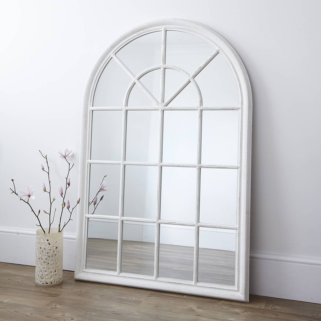 White Arched Window Wall Mirror – Primrose & Plum For Arched Wall Mirrors (View 3 of 15)
