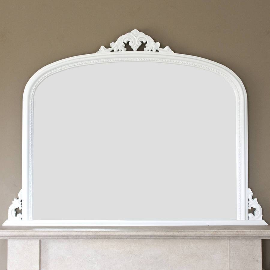 White Beaded Edge Overmantel Fireplace Mirrordecorative For White Overmantle Mirrors (View 10 of 15)
