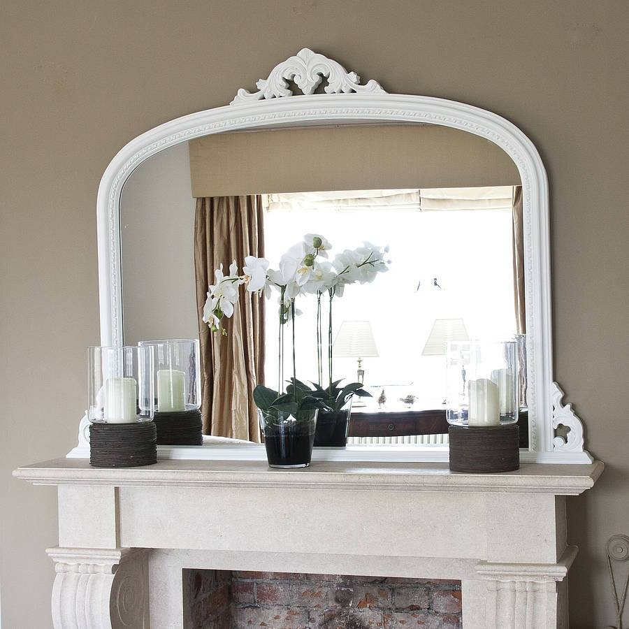 White Beaded Edge Overmantel Fireplace Mirrordecorative with Over Mantle Mirrors (Image 15 of 15)