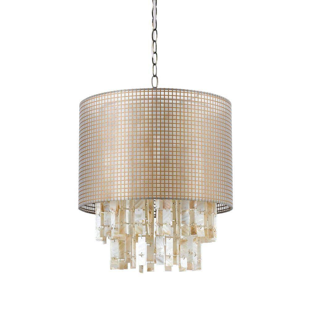 White - Center Bowl - Pendant Lights - Hanging Lights - The Home Depot for Shell Lights Shades Pendants (Image 15 of 15)
