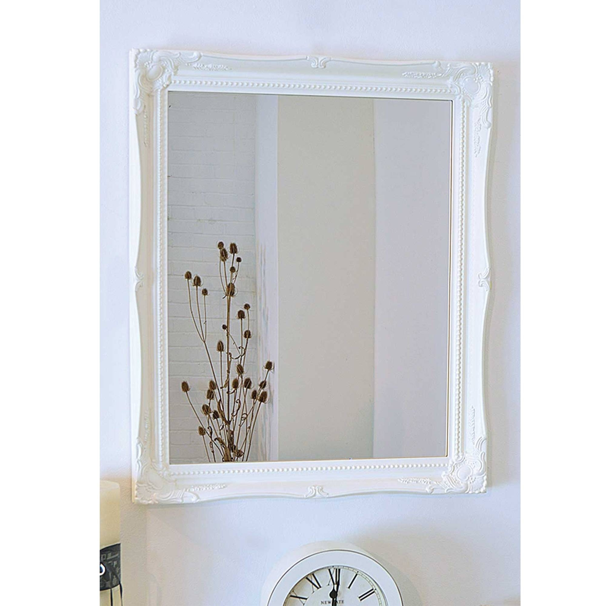 White Frame Antique French Style Wall Mirror Pertaining To French Style Wall Mirrors (View 14 of 15)