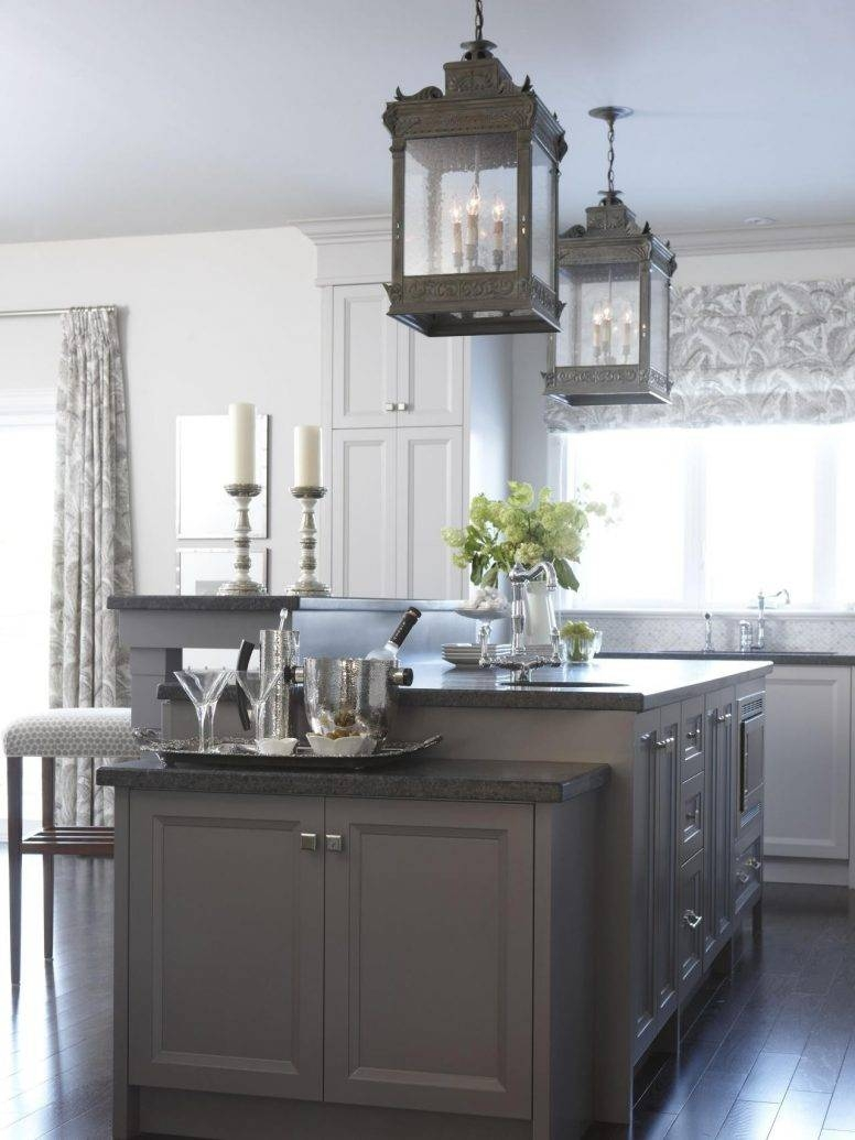 White Kitchen Island With Butcher Block Top Dark Polished Powder inside Wrought Iron Pendant Lights for Kitchen (Image 13 of 15)