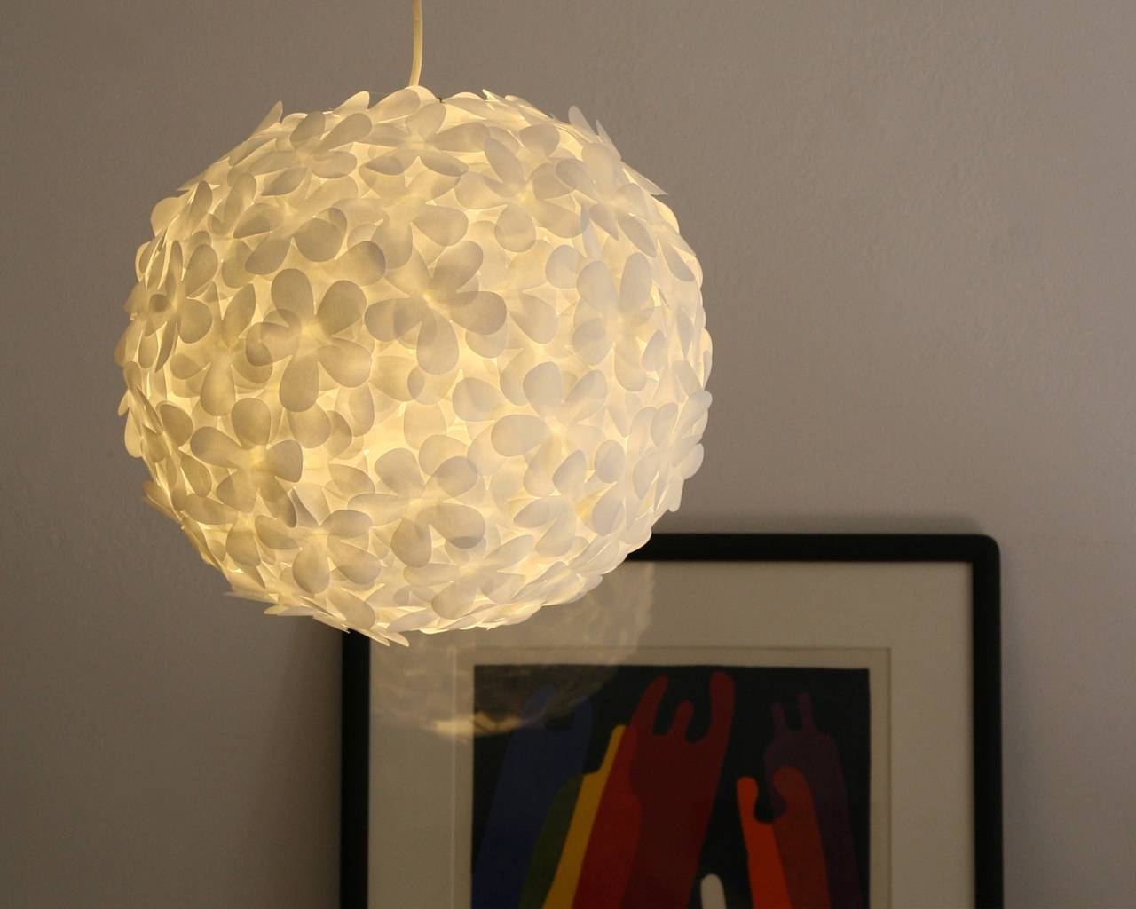 White Paper Flower Pendant Light | The 3 R's Blog within White Flower Pendant Lights (Image 15 of 15)