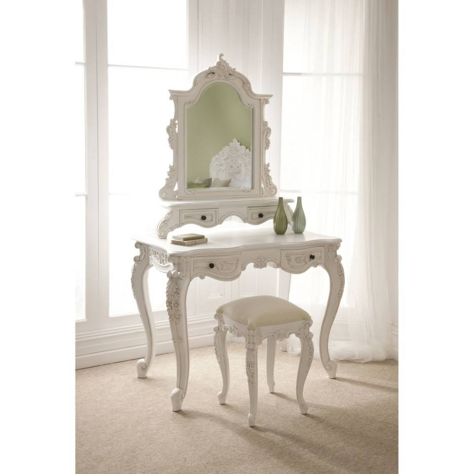 White Stained Wooden Bedroom Vanity Pile Up Drawers And Rectangle intended for Ornate Dressing Table Mirrors (Image 15 of 15)
