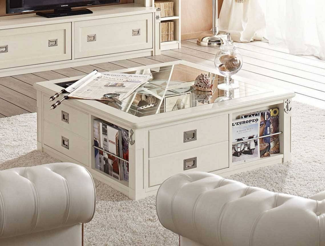 White Wood Coffee Table Square With Drawers And Book Storage Pertaining To Square Coffee Table With Storage Drawers (View 14 of 15)