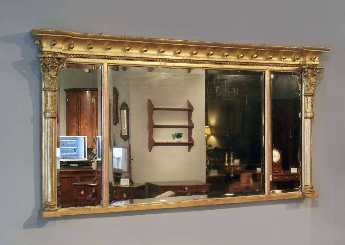 William Iv Gilt Overmantel Mirror, Antique Gilt Mirror, Mantel inside Gold Mantle Mirrors (Image 15 of 15)