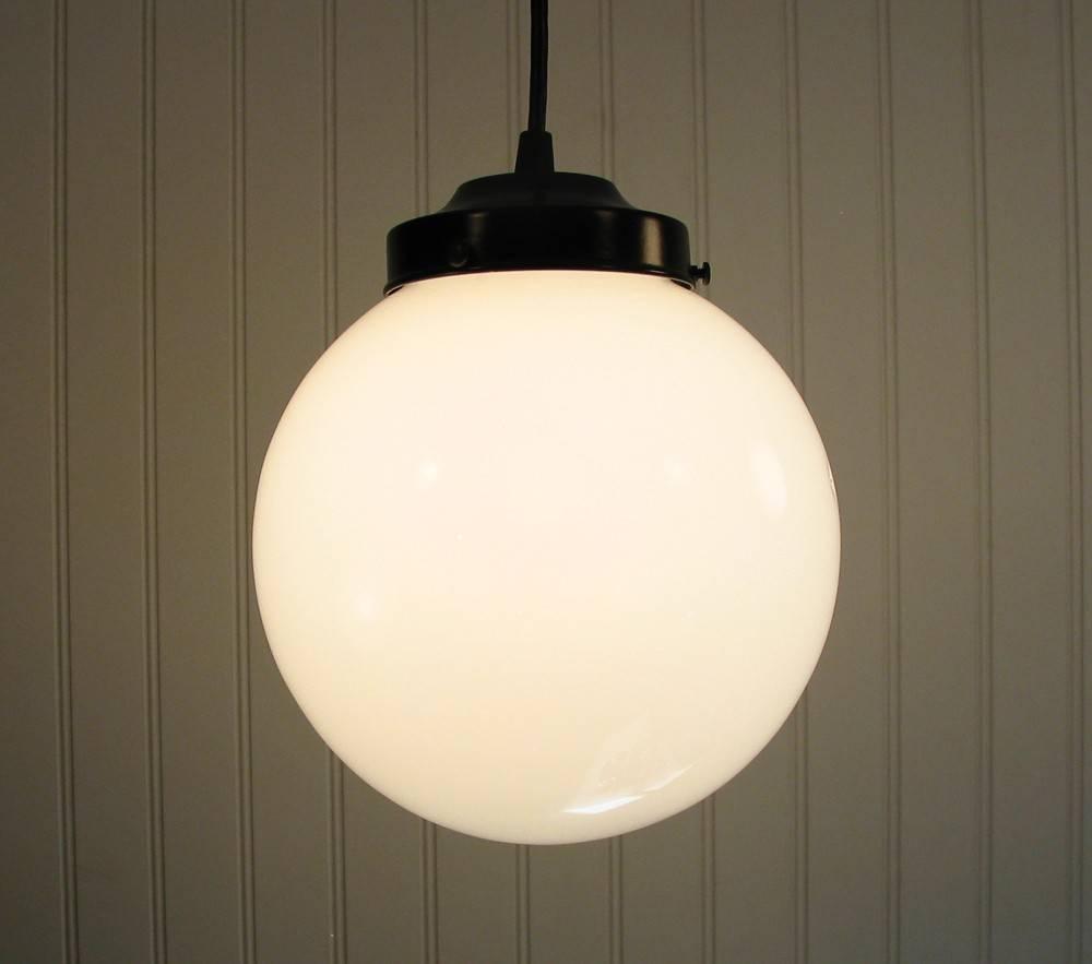 Winterport. Milk Glass Pendant Light Large Globe regarding Milk Glass Pendant Lights Fixtures (Image 15 of 15)
