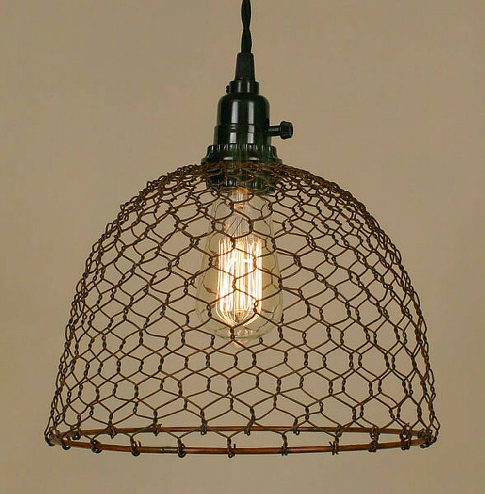 Popular Photo of Chicken Wire Pendant Lights