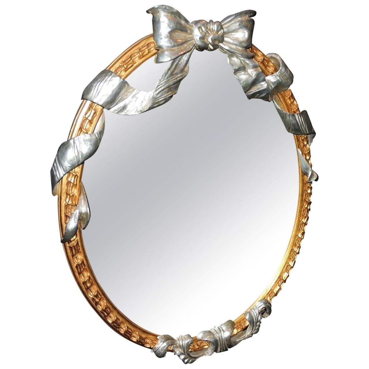 Wonderful French Oval Giltwood Mirror With Silver Leaf Bow And In French Oval Mirrors (View 15 of 15)