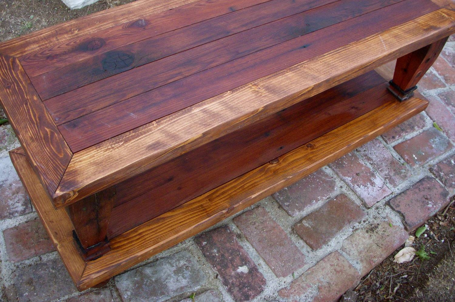 Wood Coffee Table Handmade Furniture Living Room Shabby throughout Handmade Wooden Coffee Tables (Image 14 of 15)