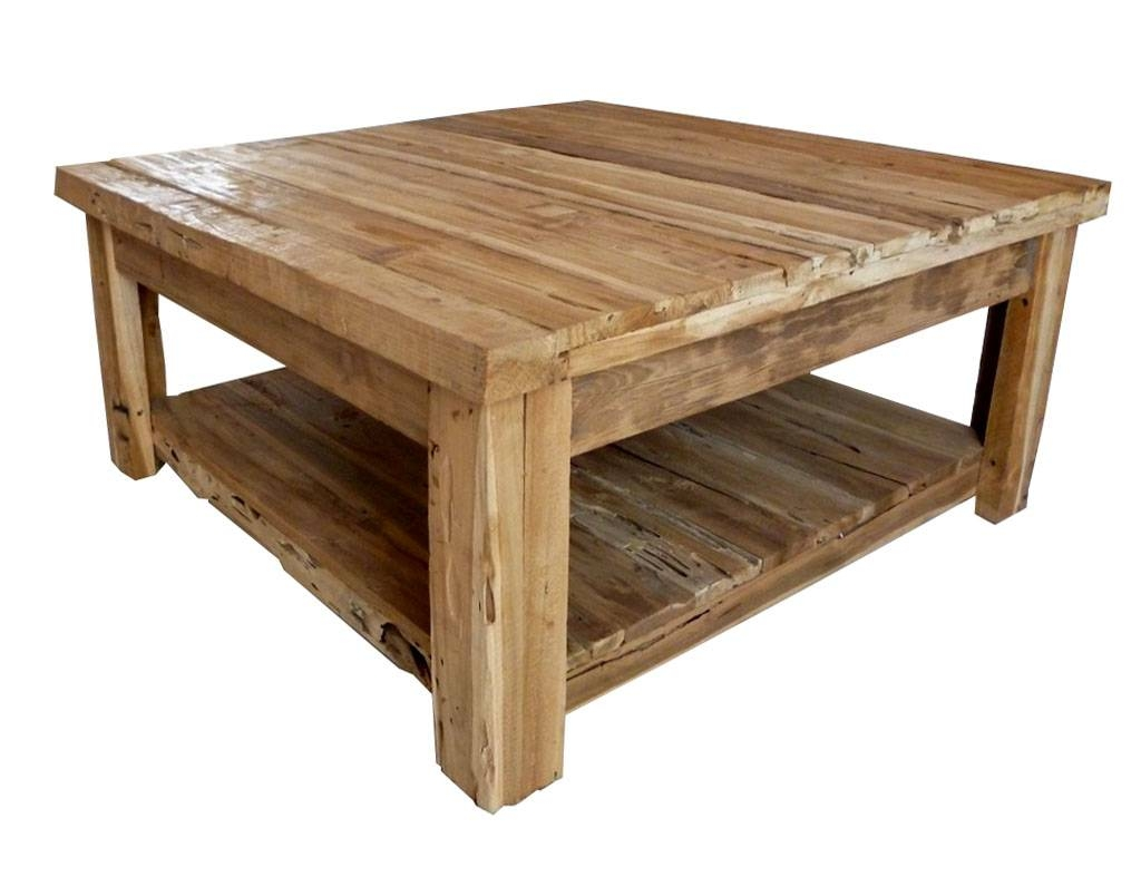 Wood Coffee Table. Salvaged Wood Coffee Table Popular Square intended for Square Wooden Coffee Table (Image 15 of 15)