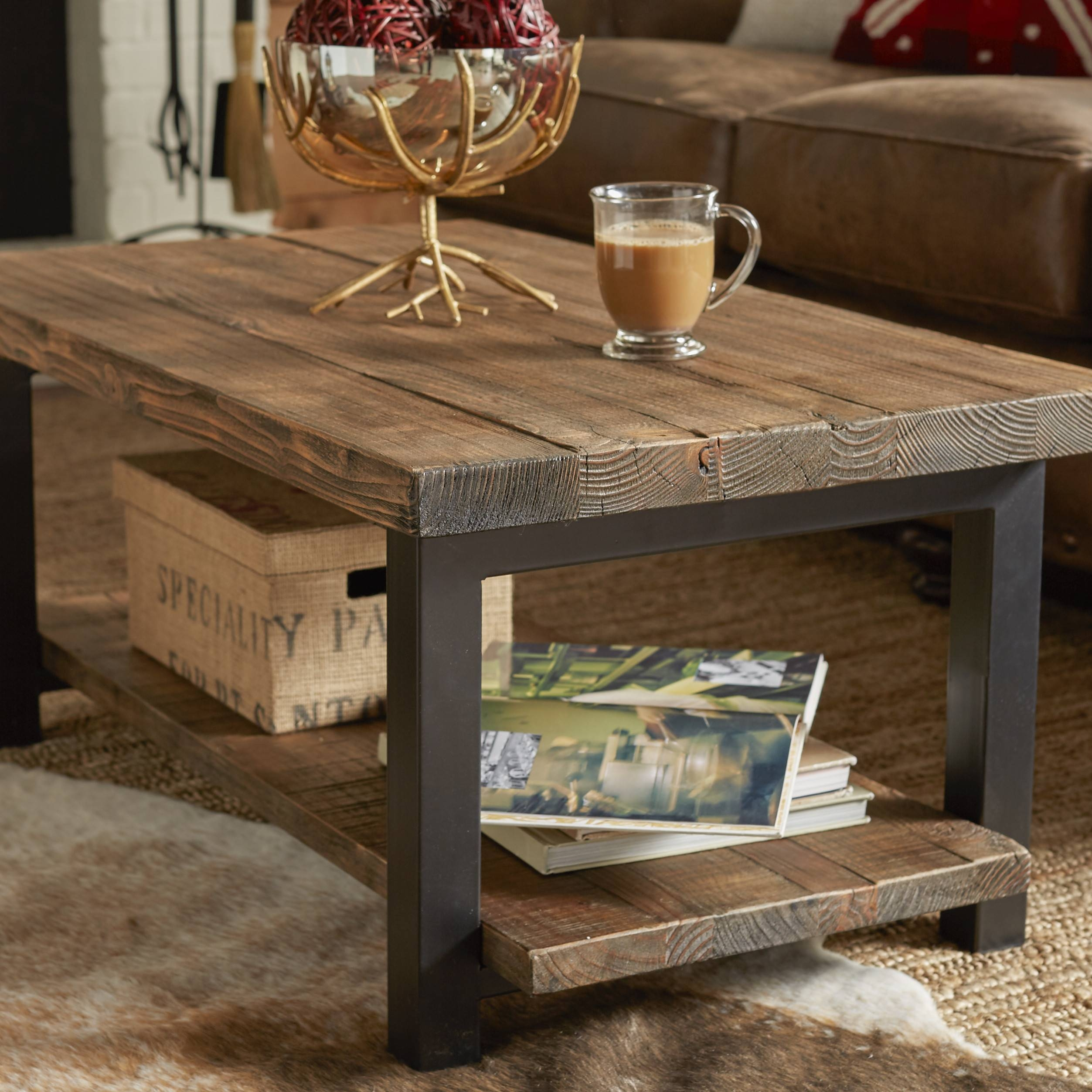 Wood Metal Coffee Table in Metal And Wood Coffee Tables (Image 15 of 15)