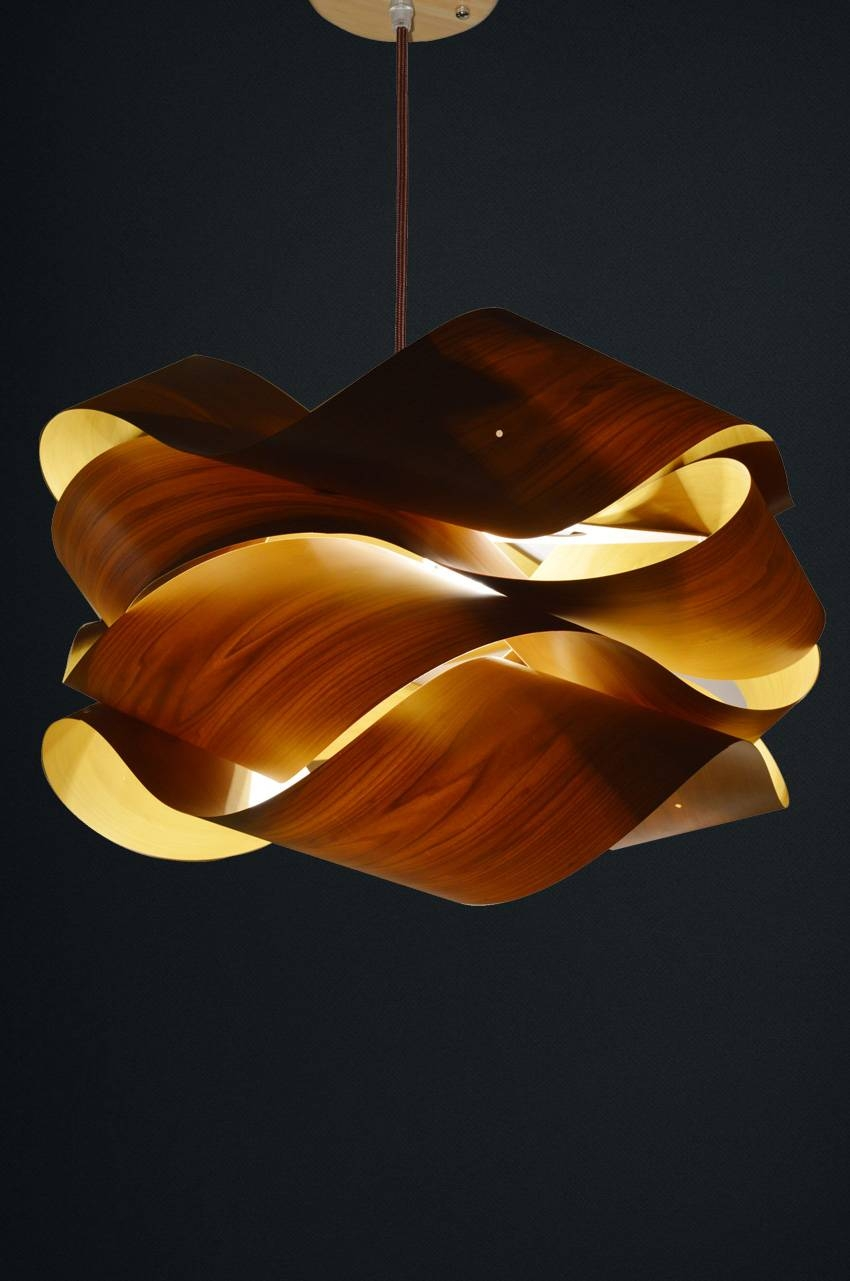 Wood Pendant Lamp Op2030 - Oaklamp with Wood Veneer Pendants (Image 11 of 15)